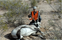Jose D. Gallegos harvested his first oryx during a mobility-impaired hunt in Rhodes Canyon on White Sands Missile Range. The horns measured 34 inches. Brian Woodsman helped with the harvest.