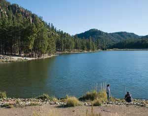 Fenton Lake provides the closest large-body-of-water trout fishing for many in the Albuquerque metro area. New Mexico Wildlife magazine, NMDGF