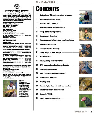 New Mexico Wildlife magazine contents page - Volume 60, Number 1, Spring 2017, New Mexico Game and Fish (NMDGF).