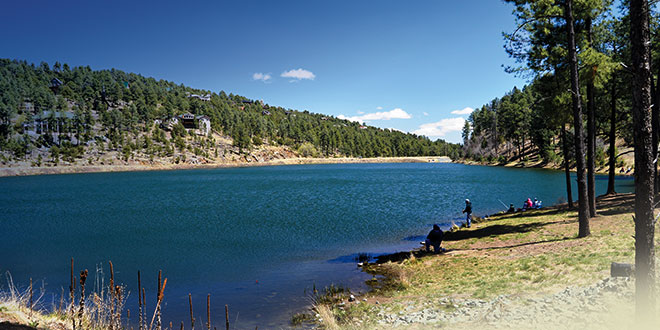 In 2015, The New Mexico Department of Game and Fish worked with the Village of Ruidoso to open Alto Reservoir to stocking and anglers. Located about 4½ miles north of Ruidoso, Alto Lake has been stocked with channel catfish and rainbow trout. Photo by Mark Madsen, New Mexico Wildlife magazine, NMDGF.