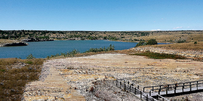 Clayton Lake not only produced the state record walleye but also has a dinosaur tracks viewing area. Photo, New Mexico Wildlife magazine, NMDGF.