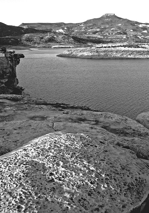 Abiquiu Reservoir on the Rio Chama. Photo: NMDGF. New Mexico Wildlife magazine, Vol-49, Num-3 Fall 2004. (Making Tracks: A Century of Wildlife Management. (History of the New Mexico Department of Game and Fish).