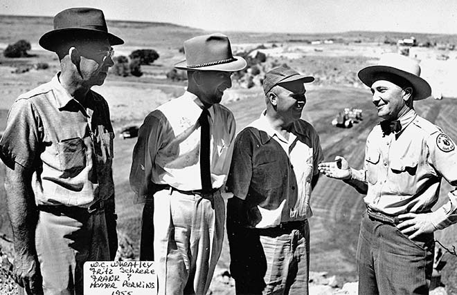 Homer Pickens, far right, in 1955 at Clayton Lake Dam construction site. Photo: NMDGF. New Mexico Wildlife magazine, Vol-49, Num-1 Spring 2004. (Making Tracks: A Century of Wildlife Management. (History of the New Mexico Department of Game and Fish).