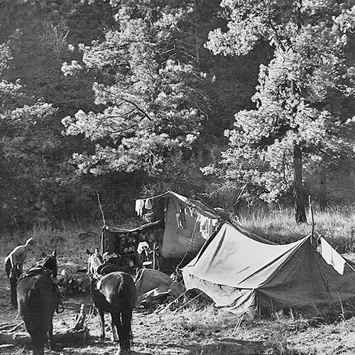 Leopold hunting camp along Rio Gavilan. Photo: Aldo Leopold, University of Wisconsin - Madison Archived. New Mexico Wildlife Magazine, Vol-48, Num-2 Summer 2003. (Making Tracks: A Century of Wildlife Management. (History of the New Mexico Department of Game and Fish).