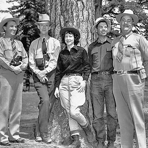 Asst. Director Homer Pickens on left; Director Barker on right, with unidentified companions. Photo: NMDGF. New Mexico Wildlife Magazine, Vol-48, Num-2 Summer 2003. (Making Tracks: A Century of Wildlife Management. (History of the New Mexico Department of Game and Fish).