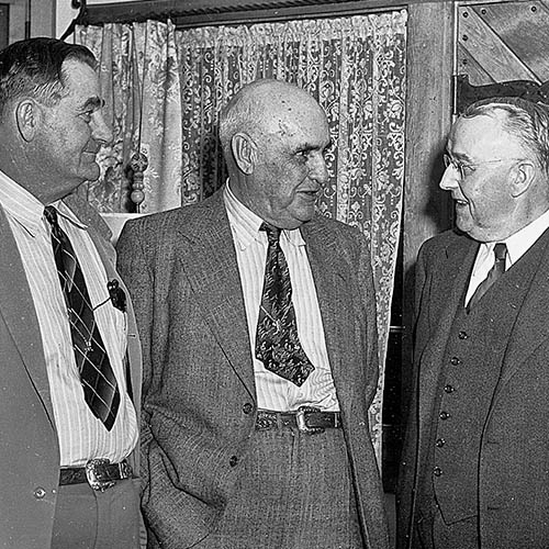 Left to right - Elliott Barker, Judge Colin Neblett, and R.B. Coombs Photo: NMDGF. New Mexico Wildlife Magazine, Vol-48, Num-2 Summer 2003. (Making Tracks: A Century of Wildlife Management. (History of the New Mexico Department of Game and Fish).