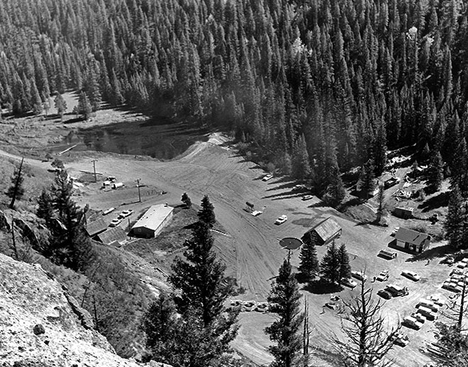 Aerial view of Seven Springs Hatchery. Photo: NMDGF. New Mexico Wildlife magazine, Vol-49, Num-2 Summer 2004. (Making Tracks: A Century of Wildlife Management. (History of the New Mexico Department of Game and Fish).