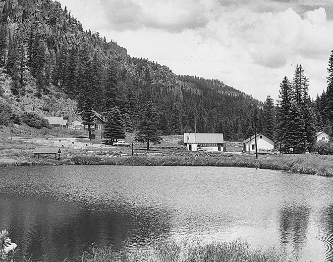 Seven Springs Hatchery. Photo: NMDGF. New Mexico Wildlife magazine, Vol-49, Num-2 Summer 2004. (Making Tracks: A Century of Wildlife Management. (History of the New Mexico Department of Game and Fish).
