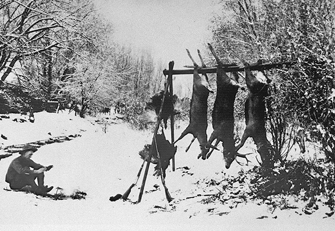 Santa Fe hunting scene circa 1924. Photo: Guy Cross, Museum of New Mexico, Neg. No. 119175. New Mexico Wildlife magazine, Vol-48, Num-4 Winter 2003. (Making Tracks: A Century of Wildlife Management. (History of the New Mexico Department of Game and Fish).