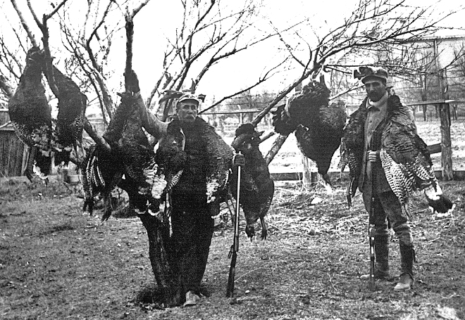 Turkey hunters in Santa Fe circa 1900. Photo: Museum of New Mexico, Neg. No. 12061. New Mexico Wildlife magazine, Vol-48, Num-4 Winter 2003. (Making Tracks: A Century of Wildlife Management. (History of the New Mexico Department of Game and Fish).