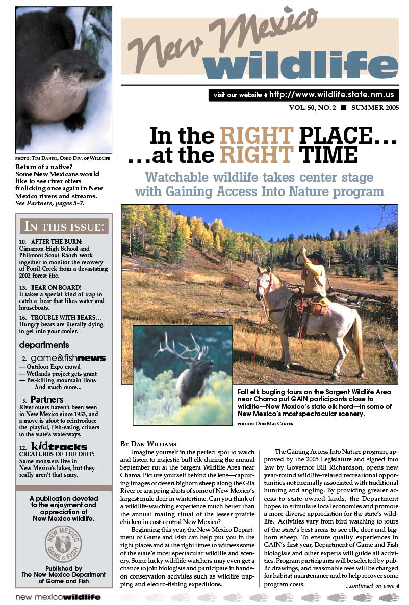 Right Place, Right Time: Watchable Wildlife Center State with GAIN Program - New Mexico Wildlife magazine - Volume 50, Number 2, Summer 2005, New Mexico Game and Fish (NMDGF).