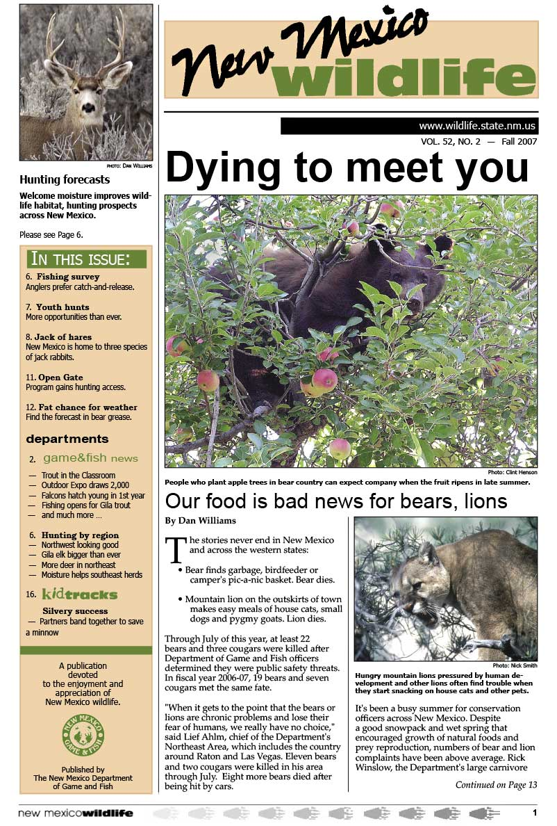 Dying to Meet You: Our Food is Bad News for Bears, Lions - New Mexico Wildlife magazine - Volume 52, Number 2, Fall 2007, New Mexico Game and Fish (NMDGF).