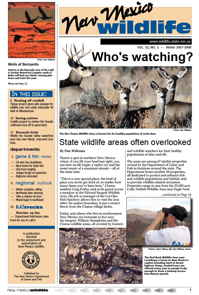 Who's Watching: State Wildlife Areas often Overlooked - New Mexico Wildlife magazine - Volume 52, Number 3, Winter 2007-2008, New Mexico Game and Fish (NMDGF).