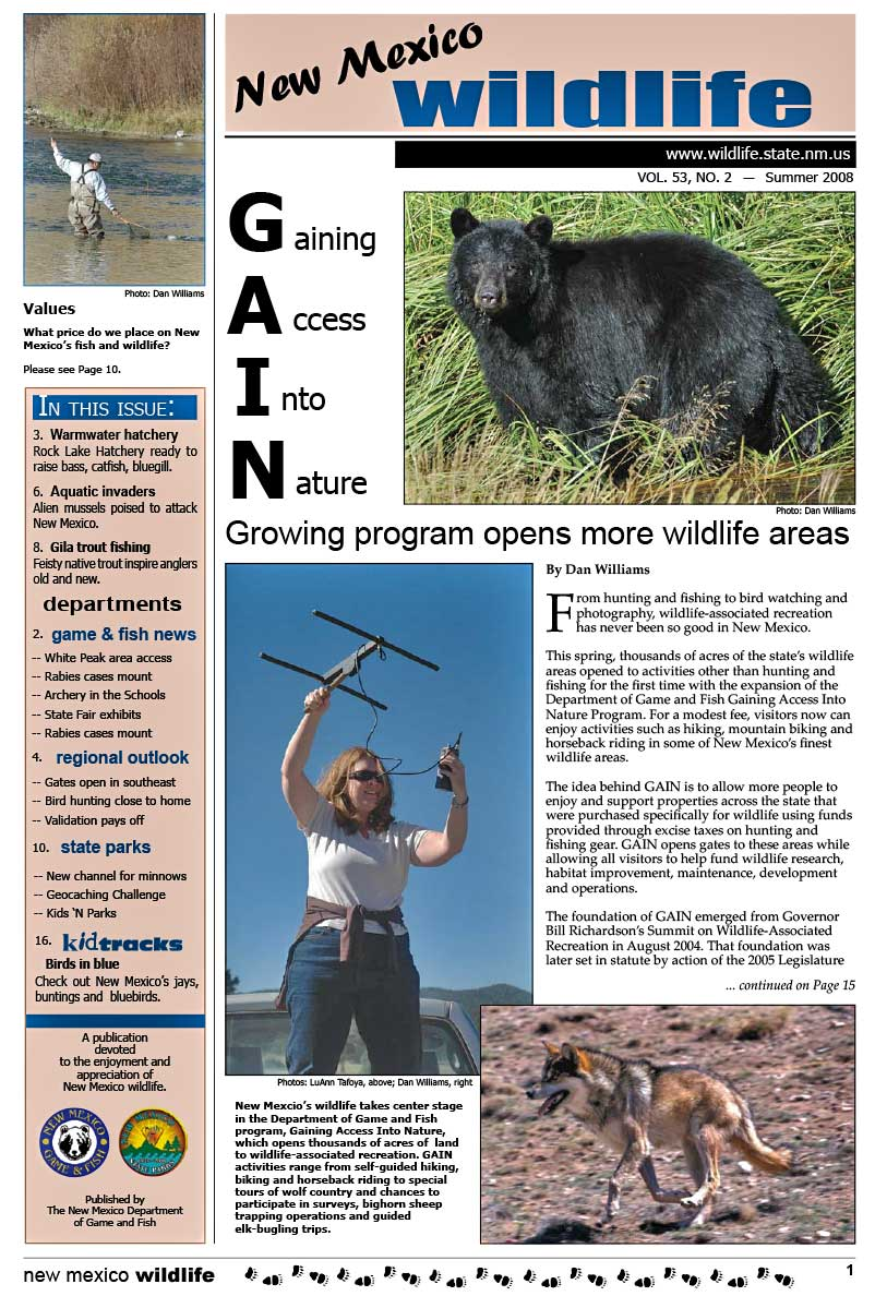 GAIN: Growing Program Opens More Wildlife Areas - New Mexico Wildlife magazine - Volume 53, Number 2, Summer 2008, New Mexico Game and Fish (NMDGF).
