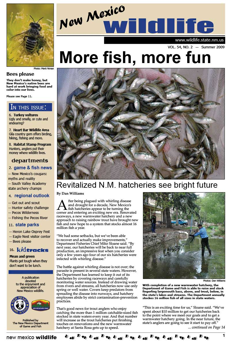 More Fish, More Fun: Revitalized NM Hatcheries See Bright Future - New Mexico Wildlife magazine - Volume 54, Number 2, Summer 2009, New Mexico Game and Fish (NMDGF).