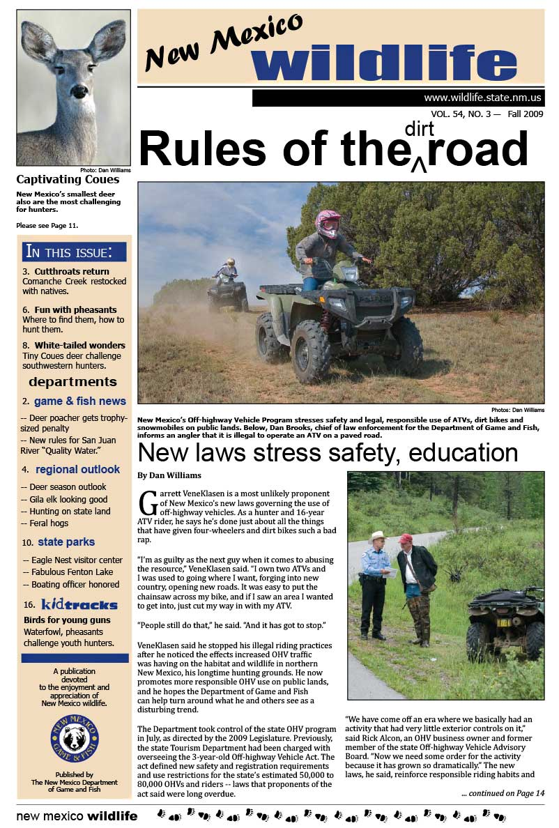 Rules of the Dirt Road: New Laws Stress Safety, Education - New Mexico Wildlife magazine - Volume 54, Number 3, Winter 2009, New Mexico Game and Fish (NMDGF).