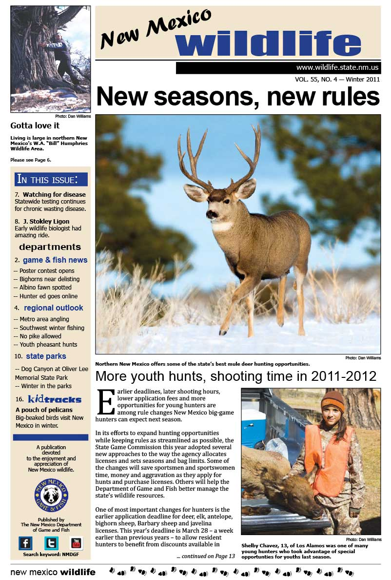 New Seasons, New Rules: More Youth Hunts, Shooting Time in 2011/2012 - New Mexico Wildlife magazine - Volume 55, Number 4, Winter 2011, New Mexico Game and Fish (NMDGF).