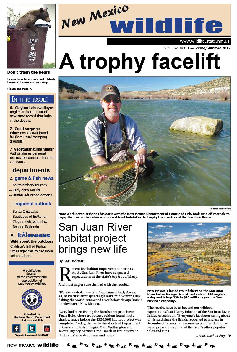 A Trophy Facelift: San Juan River Habitat Project Brings New Life - New Mexico Wildlife magazine - Volume 57, Number 1, Spring-Summer 2012, New Mexico Game and Fish (NMDGF).
