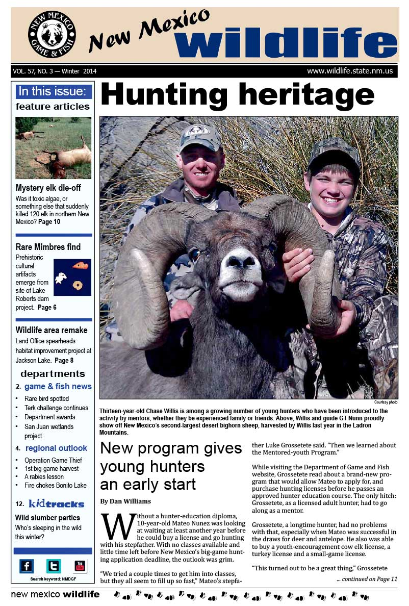 Hunting Heritage: New Program Gives Young Hunters an Early Start - New Mexico Wildlife magazine - Volume 57, Number 3, Winter 2014, New Mexico Game and Fish (NMDGF).