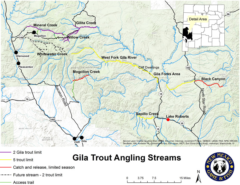 Where to go for Gila trout (map), New Mexico Wildlife magazine Spring 2017 Vol60, Num1, New Mexico Department of Game and Fish.