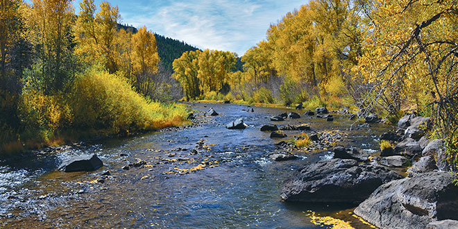 The scenic Rio de Los Pinos Wildlife Management Area, top, in northern New Mexico boasts impressive scenery in a quiet, remote location. NMDGF photos by Karl Moffatt, New Mexico Wildlife magazine Spring 2017 Vol60, Num1, New Mexico Department of Game and Fish.