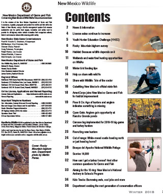 New Mexico Wildlife magazine contents page - Volume 61, Number 1, Spring 2018, New Mexico Game and Fish (NMDGF).