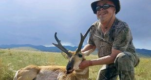 Mike Sanders with a pronghorn he harvested last August. Department photo by Craig Sanchez.