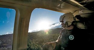 Conservation officer Clovis Rivera scans the landscape below for cows and calves. Department photo by Martin Perea.