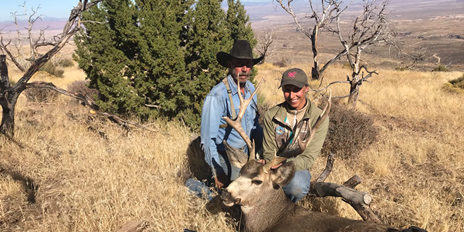 In 2019, I was lucky enough to draw a mule deer tag. My dad and I covered many miles on horseback and hiking through remote country. Dressed in jeans and plain cloths, we saw and were within 100 yards of several hundred mule deer, turkey, coyotes, bighorn sheep, red fox, quail, numerous raptors and songbirds. On day nine of the hunt I was able to harvest this beautiful mule deer buck, getting within 70 yards before getting a good shot. Photo courtesy of Tristanna Bickford.